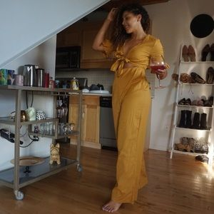 Pants - Linen Jumpsuit with Cut Out and Tie Detail